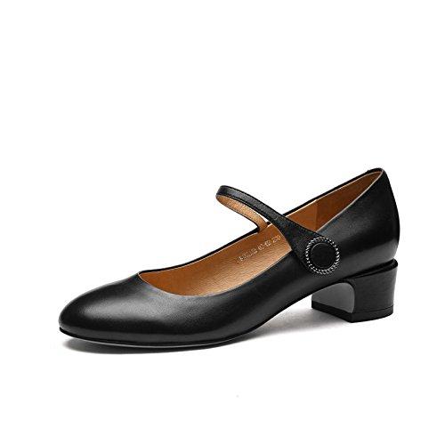 Leder Schwarz Hochzeit MHSXN Runde Schuhe Schuhe High Heels Leder Kopf Damen Retro Damen Schuhe Formale w8FSxwp