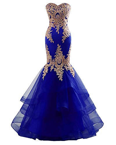 Changuan Mermaid Evening Dress for Women Backless Formal Long Prom Dresses with Embroidery Royal Blue-18