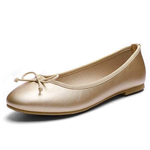 CINAK Women Ballet Flats- Casual Slip-on Comfort Walking Round Toe Loafers Shoes Gold