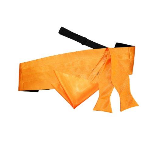 Bow DQT and Self Wedding Plain Tie Fluorescent Hanky Orange Tie Men Cummerbund TTxZOg