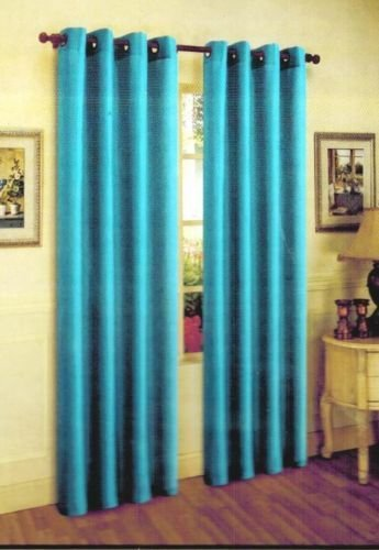 - Gorgeous Home 1 PANEL SOLID TURQUOISE BLUE SEMI SHEER WINDOW FAUX SILK ANTIQUE BRONZE GROMMETS CURTAIN DRAPES MIRA * AVAILABLE IN DIFFERENT SIZES * (84