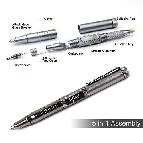 Lifine Tactical Pen 5-in-1 Self Defense Multitool Pen for Personal Protection with Ballpoint Pen, Both End Screwdrivers, Glass Breaker, Bottle Opener SIM Card Needle (Silver)