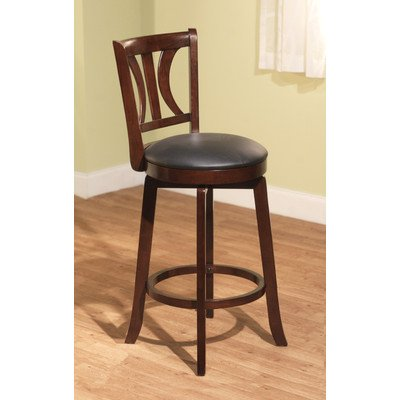 Target Marketing Systems 29-Inch Houston Upholstered Swivel Bar Stool, Mahogany - Mahogany Bar Stools