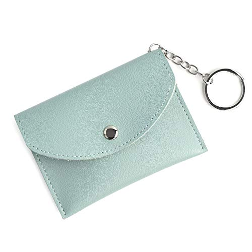 Coin Change Purse with Key Ring - Slim Card Case Holder Wallet -