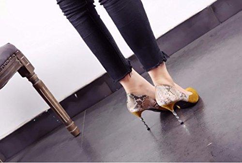 36 Transpirable Suede Sexy trabajo elegante 39 serpientes Los Boca de zapatos Talón afilada talones Moda Sandalias fino Ajunr Las 9cm superficial Amarillo Cabeza Bq7nEC4xOw