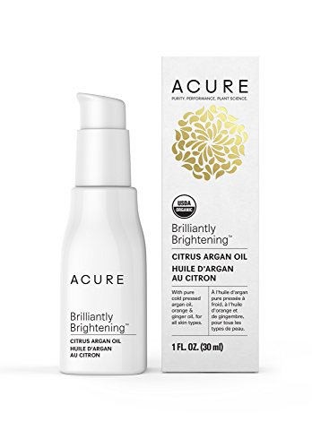 Acure Brilliantly Brightening Citrus Argan Oil, 1 Fluid Ounce (Packaging May Vary) Citrus Moisturizing Massage Oil