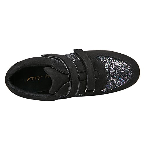 Zapatillas Piel Negro Mujer Altas de Yirenhuang 4qCzFwq