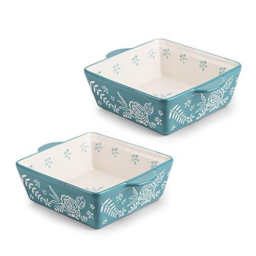 KINGSBULL HOME Baking Dish 8×8 Baking Pan Ceramic Brownie Pan Bakeware Casserole Dish 2-pcs Bakeware Sets Lasagna Pan