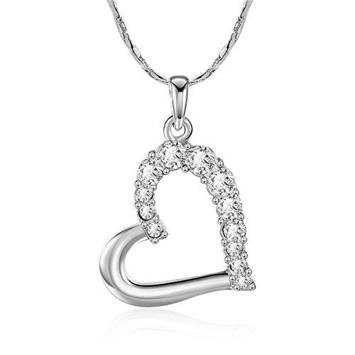 18K Platinum Austrian Crystal Heart Pendant Necklace for Girlfriend (Necklace Heart Pendant Austrian Crystal)