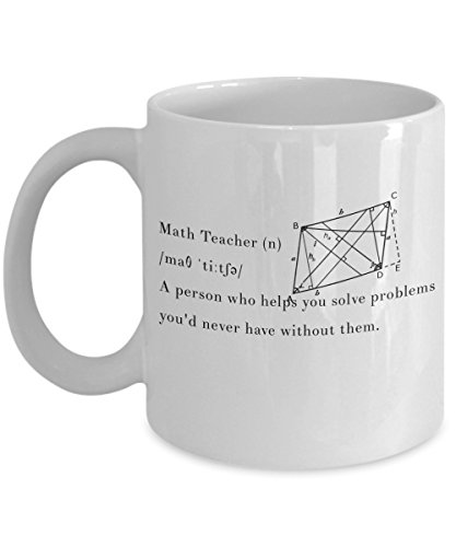 Math Teacher Definition Mug, 11 oz Ceramic White Coffee Mugs, Cool Math Themed Gifts, Tea Cups With Funny Quotes For Tutor, Professor, Eureka Pi Day Appreciation Presents ()