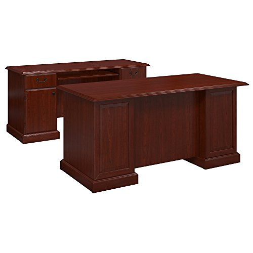 kathy ireland Office by Bush Furniture Bennington Executive Desk and Credenza in Harvest Cherry