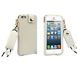 Change New Iphone 5 5s Pierced Fashionable Leather Case Back Cover (White)