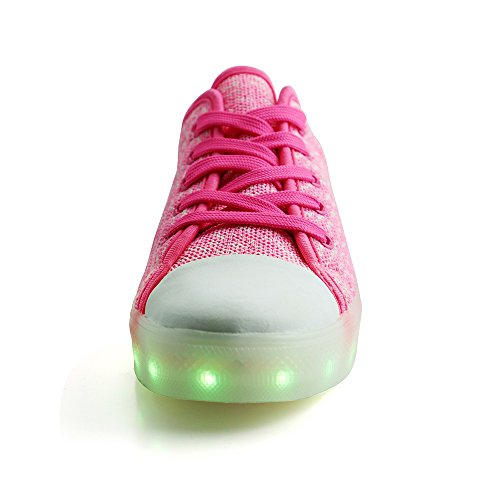 Peak Idea Frames Kinder Heren Dames Led Usb Laadschoenen Flyknit Lage Top Sneakers Roze