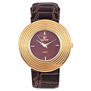 Esteem Watches Women's Brown Dial Casual Watch Leather Strap - E5231L