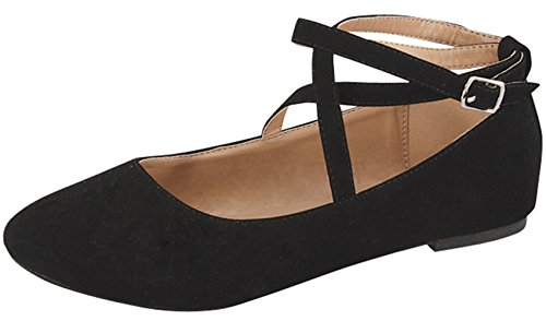TOP Moda Women's Brea-3 Strappy Ballet Flat (7 B(M) US, Black)