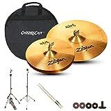 Zildjian ZBT Hats & Ride Set: ZBT 18'' Crash Ride (ZBT18CR), ZBT 13'' HiHats (ZBT13HP), Cymbal & HiHat Stand, Cymbal Bag and Polish Cloth