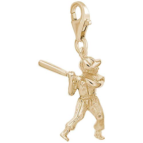 (Rembrandt Charms Male Baseball Player Charm with Lobster Clasp, Gold Plated Silver)