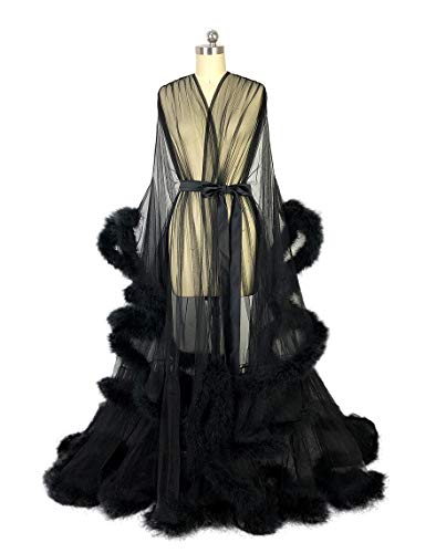 Feather Bridal Robe Tulle Illusion Long Wedding Scarf New Custom Made ? (black) from i Dui Bridal