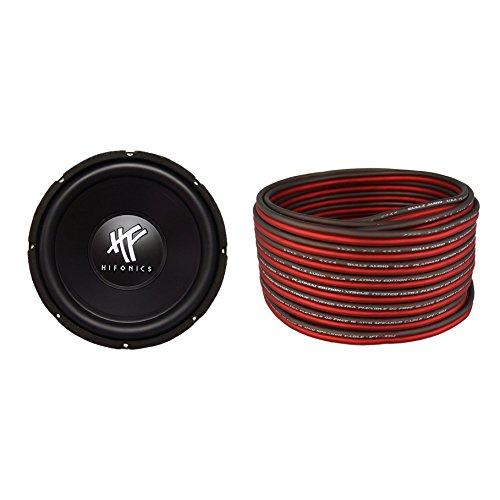 (Hifonics HFX12D4 12-Inch 800W Subwoofer & Bullz Audio 16-Gauge 100-Foot Car Speaker Cable)