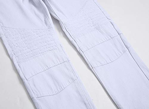 Alta jeans lavaggio della tempo cerniera Versaces maschi Metà vita elasticità WHITE libero dritto pantaloni 45WqwvUn