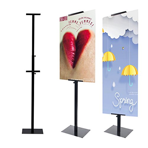 - HUAZI Sign Stand Pedestal Sign Holder Poster Stand for Display with Base,Double-Sided,Black (Single Pole Stand)