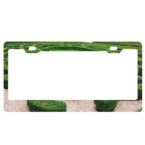 ABLnewitemFrameFF Photo of Symmetric Complexity Garden Park Topiary Shrub on Gravels Novelty License Plate Tag Metal12-Inches by 6-Inches Etched Aluminum UV Resistant