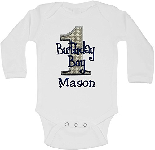 Embroidered First Birthday Year 1 Onesie Bodysuit for Baby Boys with Your Custom Name (Long Sleeve 12 Months, Gray Houndstooth)