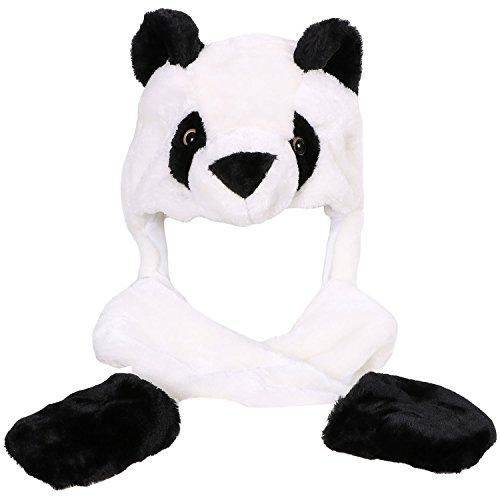 Winter Warm Plush Faux Fur Animal Paws Hat Hoods Gloves Scarf, Panda -