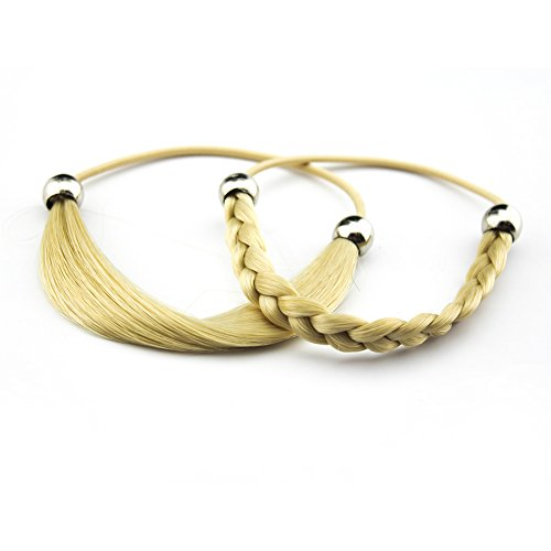 Merrylight Synthetic Girls Hair Accessories headband Scrunchie Airtificial HairElastic Twisted Hair Ties Bands Ponytail Holders Headband 2pcs (Blonde-863)