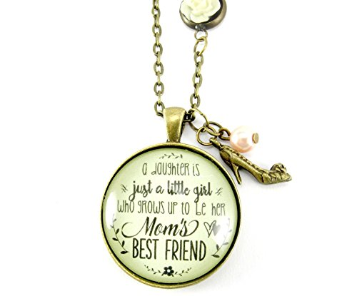 24  Mother Necklace A Daughter Is Just A Little Girl Who Grows Up To Be Her Moms Best Friend Round Glass Pendant Shabby Style Rose Chain  High Heel Charm