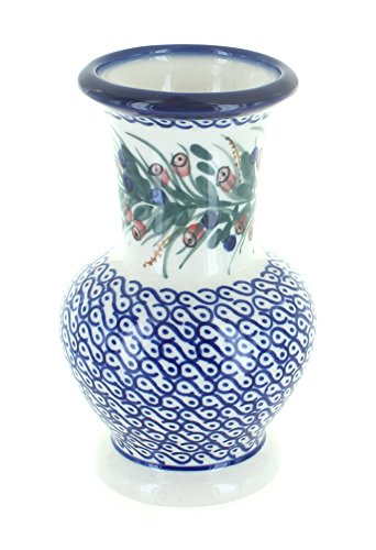 WR Unikat Blue Rose Polish Pottery Berry Medium Vase