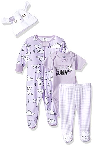 Gerber Baby Girls' 4-Piece Sleep 'N Play, Onesies, Pant and Cap, Bunny, 0-3 Months