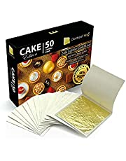 GoldleafKing 24K Cake Edition 50 Combo Pack   Edible Gold Leaf Sheet - 50 Sheets x 1.2 inches   Smaller Size - a Perfect bite   edible gold leaf for cake decorating - all in one