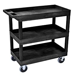 LUXOR EC111HD-B HD High Capacity Cart, 3 Tub Shelves, Black