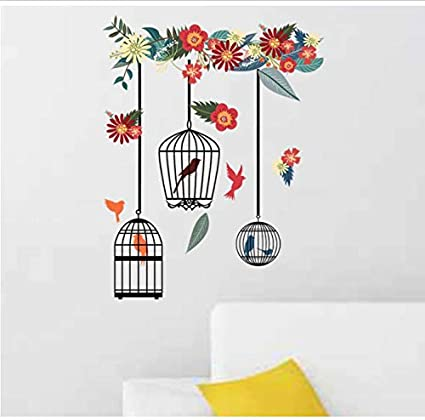 Jaula pájaro pegatina pared pasta papel pintado sala de decoración ...