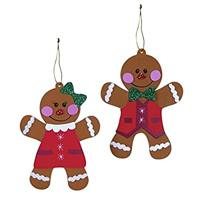 Foam Gingerbread Man and Woman Christmas Ornaments Craft Fun Foam Kit Activity Kit Makes 20