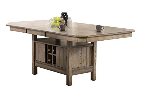 (Acme Furniture Acme 72000 Ramona Dining Table with Butterfly Leaf & Wine Rack Base, Rustic Oak)