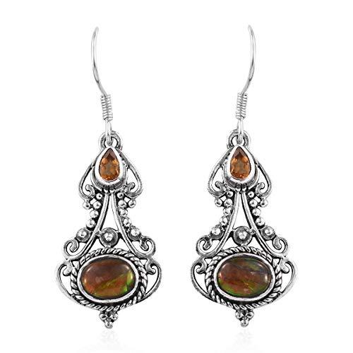 Dangle Drop Earrings 925 Sterling Silver Handmade Ammolite Citrine Gift Jewelry for Women