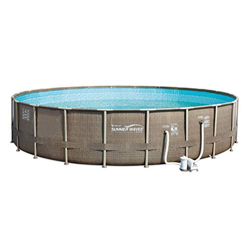 - Summer Waves Elite 22 Foot Round Above Ground Wicker Frame Swimming Pool Kit