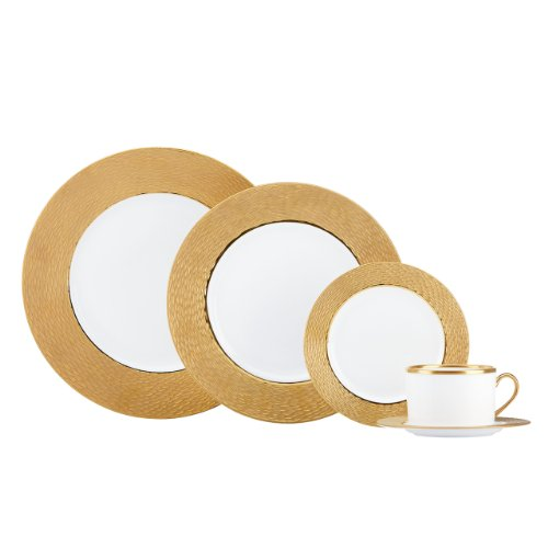 Couture 5 Piece Place Setting - Lenox Marchesa Couture 5-Piece Place Setting with 5-3/4-Inch Saucer, Mandarin Gold