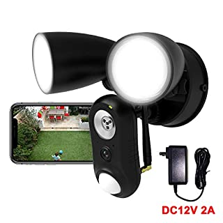 Outdoor Floodlight Camera Wired DC12V 2A, 1080P HD Plugged-in WiFi Home Security Camera, Motion-Activated,Two-Way Talk,Siren Alarm, Waterproof, Night Vision, Wall Light for Patio,Yard,Garage