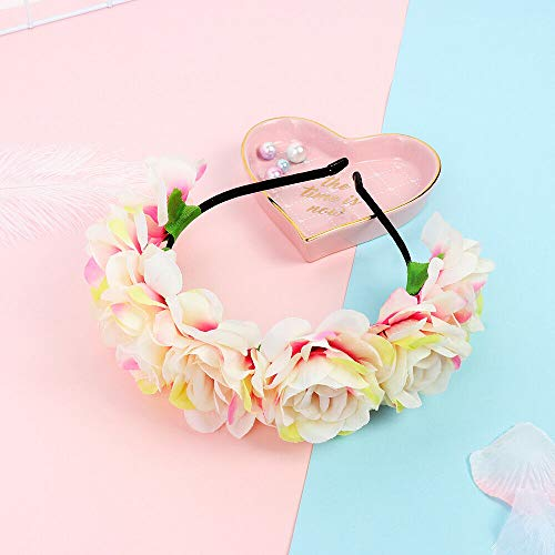 Accessories Bride Headhoop Wedding Party Women Flower Headband Beach Headwear (Size - Pink white)