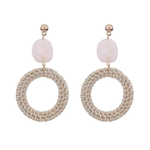 - Rattan Earrings Handmade Wicker Braid Boho Lightweight Weave Straw Hoop Earrings for Women Girls (Beige)