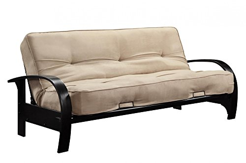 DHP Premium Madrid Futon Frame with Microfiber Mattress, Full, Tan
