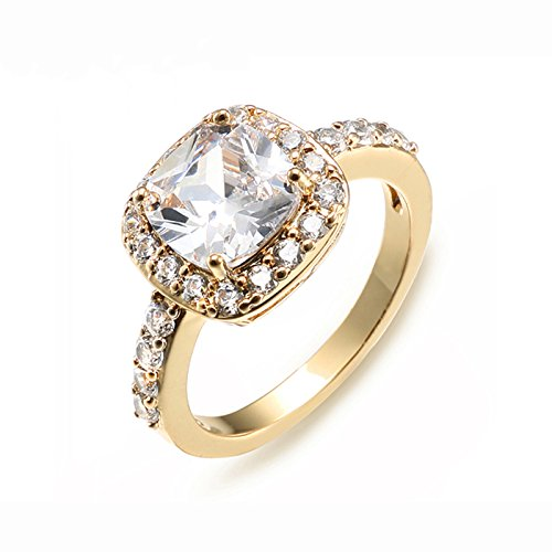 10 X Gold Plated - Impression Collection Square Rings Wedding Party Statement CZ Cocktails Gold Plated Classic Fashion Size 5-10 (Gold Clear, 10)