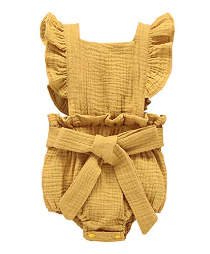 Newborn Summer Outfits Baby Girls Ruffle Romper Lace Sleeveless Bodysuits Bowknot Jumpsuit Sunsuits Clothes Set (Yellow, 18-24 Months)