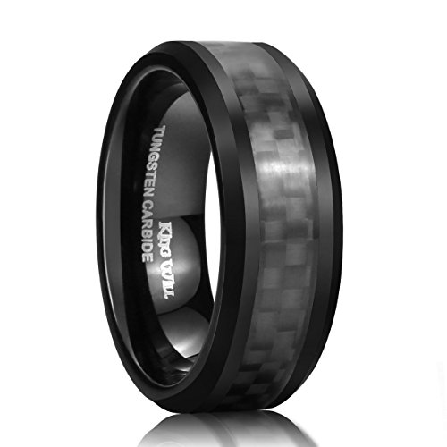 King Will GENTLEMAN 8mm Black Carbon Fiber Inlay Tungsten Carbide Ring Polished Finish Edges Comfort Fit11