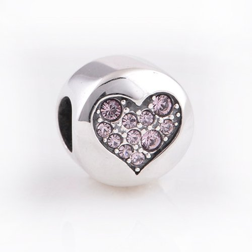 The Kiss Engraved Faith with Swarovski Heart 925 Sterling Silver Bead Fits European Charm Bracelets