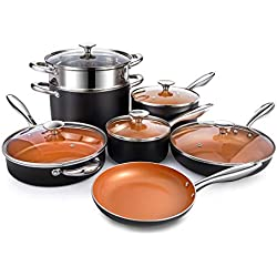 Michelangelo Copper Cookware Set 12 Piece with Non-Stick Ceramic Titanic Coating, Induction Pots and Pans, Nonstick Cookware Set - Includes Skillets, Saute Pans, Stock Pots and Steamer Insert - Copper