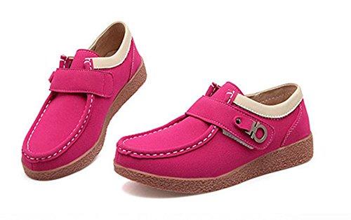 Chaussure Femme Bateau au d'Automne d'Hiver Mocassin Classique Cheville Plateforme Comfortable Rouge Scratch et à Chaussure JRenok Suède Loisir S5z1q